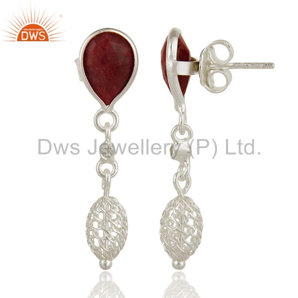 Exporter Dyed Ruby Red Corundum Solid Sterling Silver Designer Earrings
