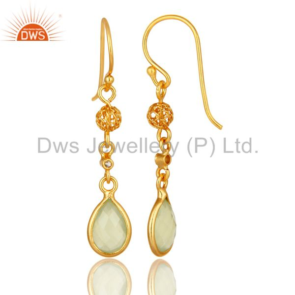 Exporter Gold Plated Sterling Silver Green Chalcedony And White Topaz Dangle Earrings