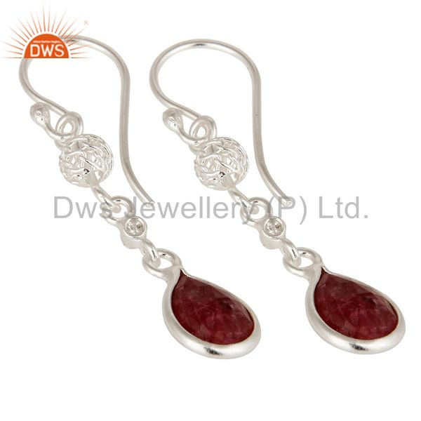 Exporter Designer Ruby Red Corundum 925 Sterling Silver Dangle Earrings