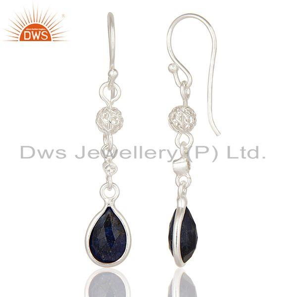 Exporter Natural Blue Sapphire & White Topaz 925 Solid Sterling Silver Dangle Earrings