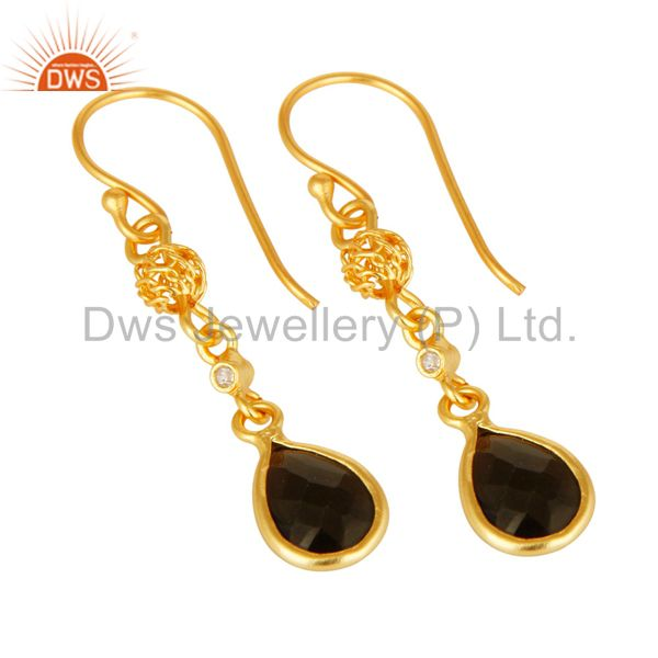 Exporter 18K Yellow Gold Plated Sterling Silver Smoky Quartz And White Topaz Earrings