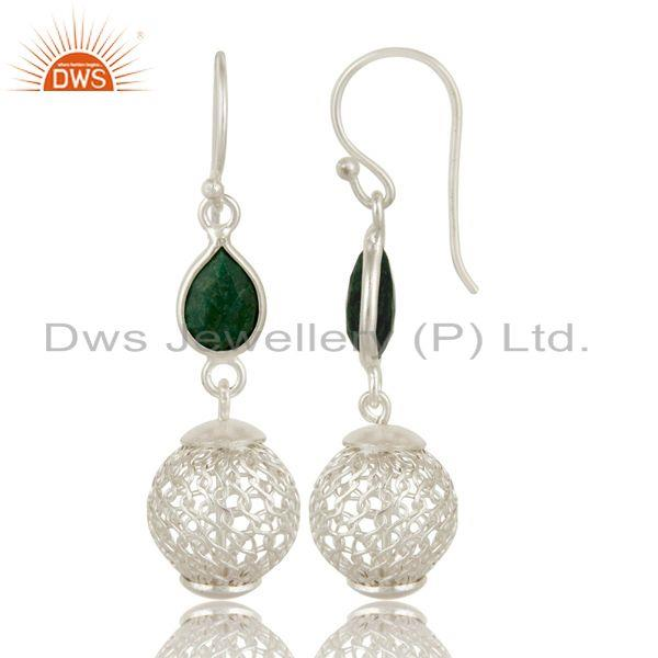 Exporter Solid Sterling Silver Ball Earrings With Green Corundum Jewelry