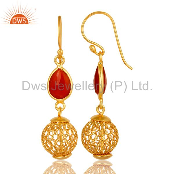 Exporter 925 Sterling Silver Red Onyx Designer Earrings With Gold Plated