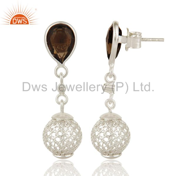 Exporter 925 Sterling Silver Smoky Quartz Bezel-Set Drop Earrings