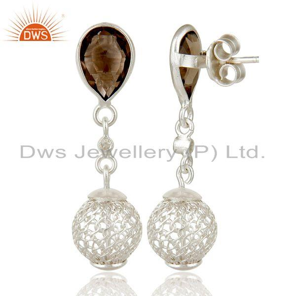 Exporter Solid Sterling Silver Smokey and White Topaz Designer Dangle Earring