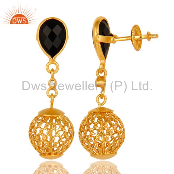 Exporter 22K Yellow Gold Plated 925 Sterling Silver Black Onyx Dangle Earrings Jewelry