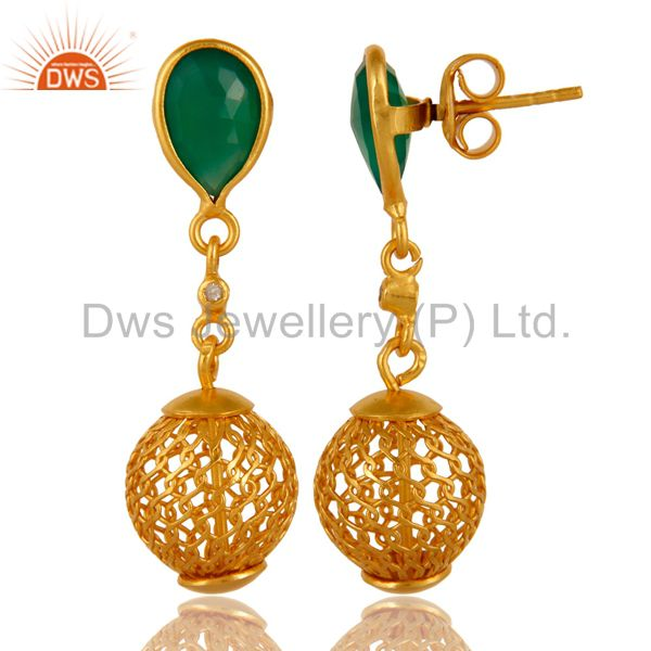 Exporter 925 Sterling Silver Green Onyx Gemstone Drop Earrings With Gold Plated