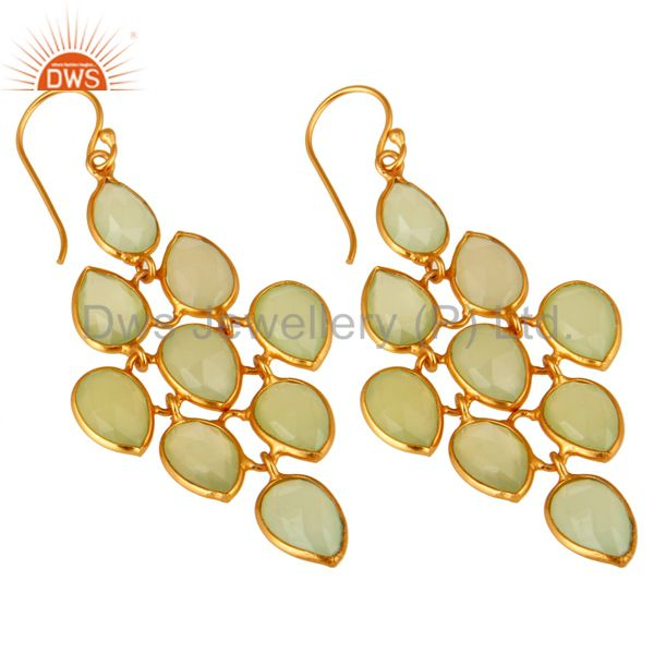 Exporter Faceted Green Chalcedony Chandelier Earrings Made In 18K Gold On Sterling Silver