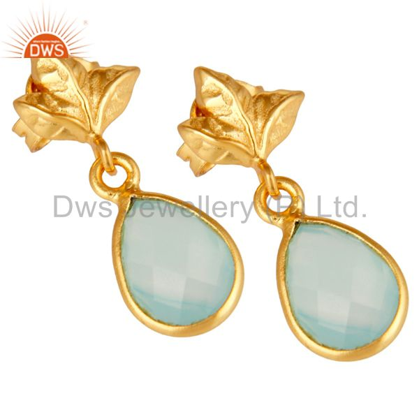 Exporter 18K Gold Plated Sterling Silver Aqua Chalcedony Dangle Drop Stud Earring