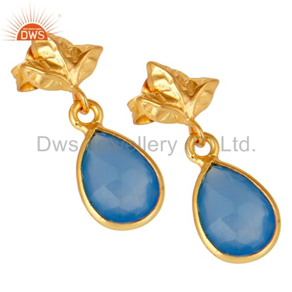 Exporter 18K Gold Plated Sterling Silver Blue Chalcedony Dangle Drop Stud Earring