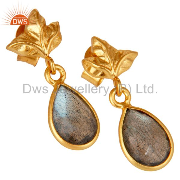 Exporter 18K Gold Plated Sterling Silver Natural Labradorite Dangle Drop Stud Earrings