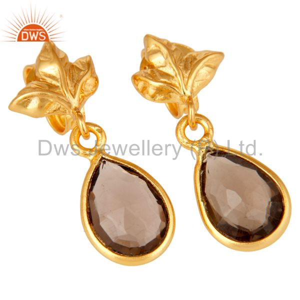 Exporter 18K Gold Plated Sterling Silver Smokey Quartz Dangle Drop Stud Earring