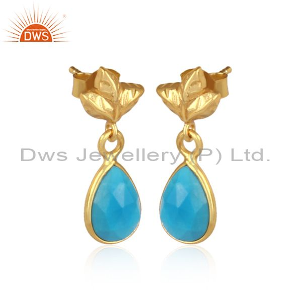 Exporter 18K Gold Plated Sterling Silver Turquoise Dangle Drop Stud Earring