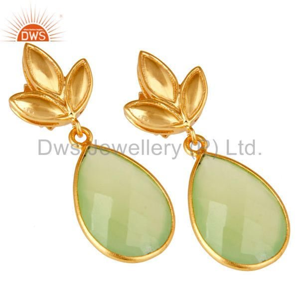 Exporter Prehnite Chalcedony Leaf Stud Gold Plated Wholesale Drop Sterling Silver Jewelry