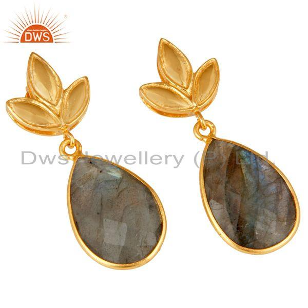 Exporter Labrodorite Leaf Stud Gold Plated Wholesale Drop Sterling Silver Jewelry