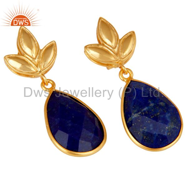 Exporter Lapis Leaf Stud Gold Plated Wholesale Drop Sterling Silver Jewelry