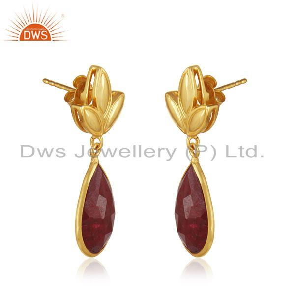 Exporter Designer Gold Plated Silver Natural Ruby Earring Jewelry