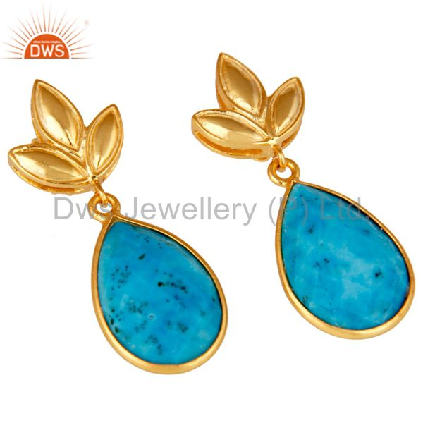 Exporter Turquoise Leaf Stud Gold Plated Wholesale Drop Sterling Silver Jewelry