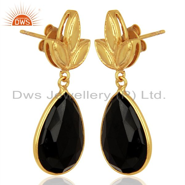 Exporter Gold Plated 925 Silver Natural Black Onyx Gemstone Earrings Supplier