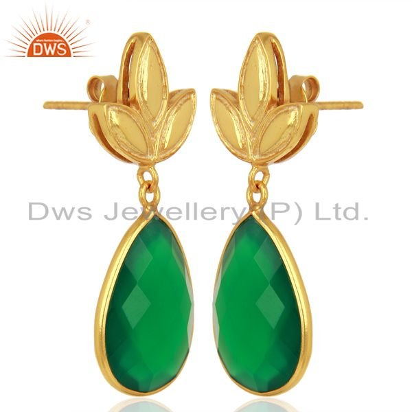 Exporter Yellow Gold Plated Silver Green Onyx Gemstone Earrings Manufacturer