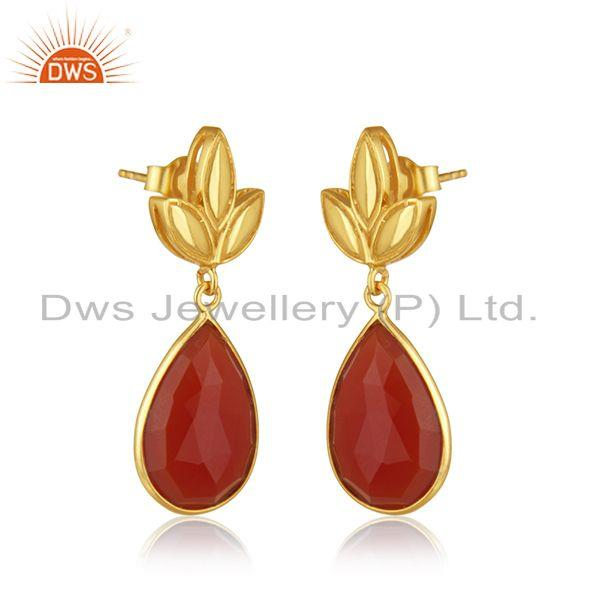 Exporter Gold Plated Sterling Silver Red Onyx Gemstone Designer Earrings Jewellery India
