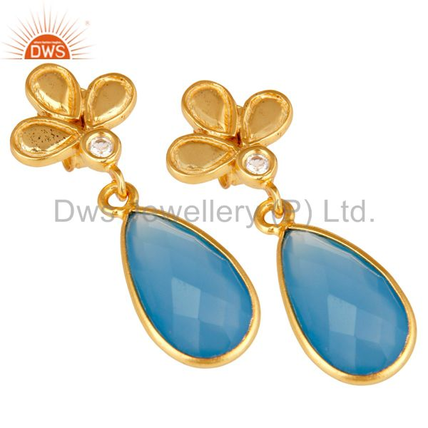 Exporter 18K Gold Plated Blue Chalcedony and White Topaz Sterling Silver Dangle Earring