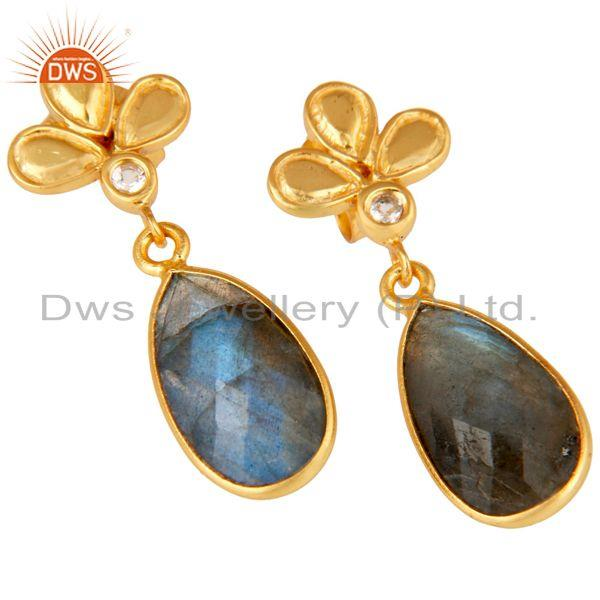 Exporter 18K Gold Plated Labradorite and White Topaz Sterling Silver Dangle Earring