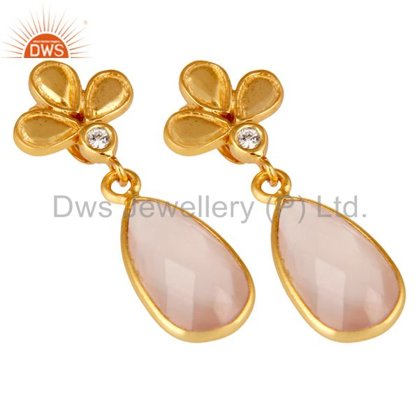 Exporter 18K Gold Plated Rose Chalcedony and White Topaz Sterling Silver Dangle Earring
