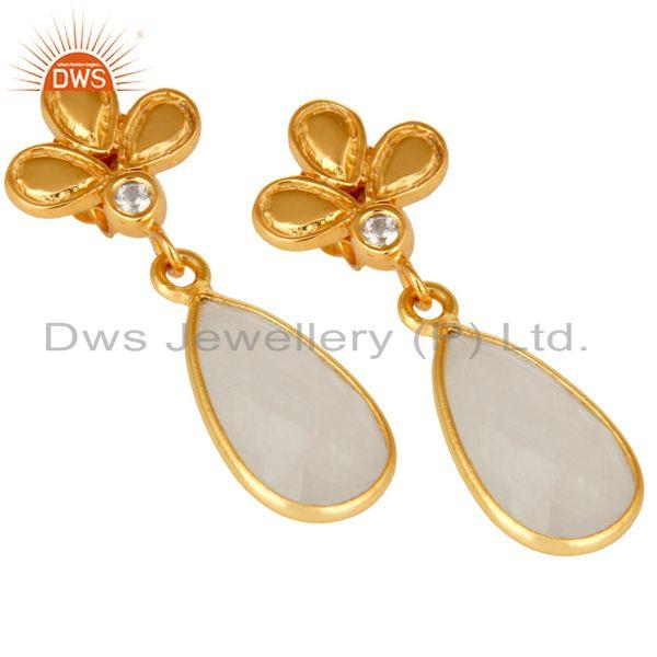 Exporter 18K Gold Plated Rainbow Moonstone and White Topaz Sterling Silver Dangle Earring
