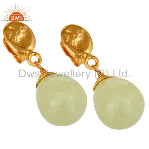 Exporter Prehnite Chalcedony 18K Gold Plated Sterling Silver Drop Earring