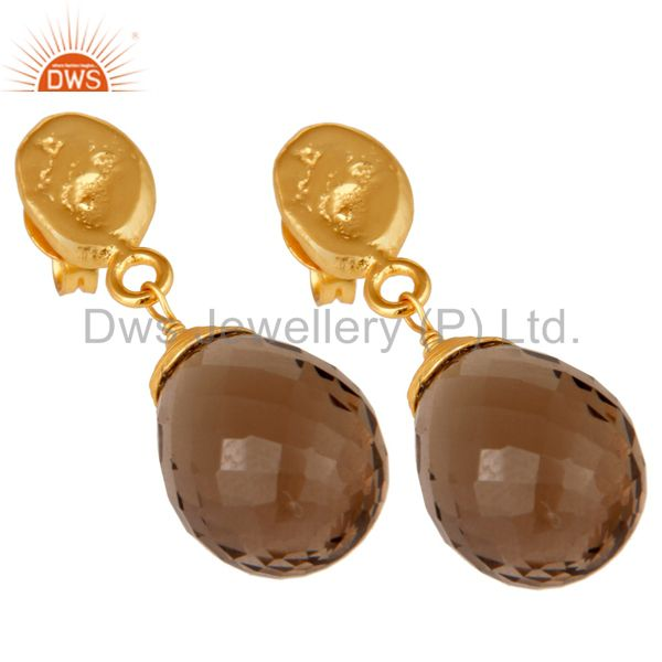 Exporter Smokey Quartz 18K Gold Plated Sterling Silver Drop Earring