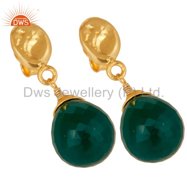 Exporter Green Onyx 18K Gold Plated Sterling Silver Drop Earring