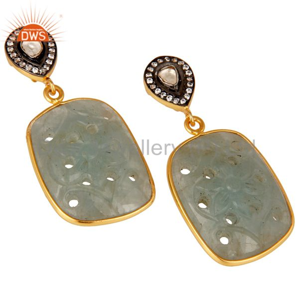 Exporter Blue Sapphire Carving and Crystal 18K Gold Plated Sterling Silver Drop Earring