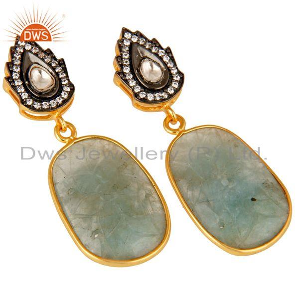 Exporter 18k Gold Over Sterling Silver Blue Sapphire Carving And CZ Polki Drop Earrings