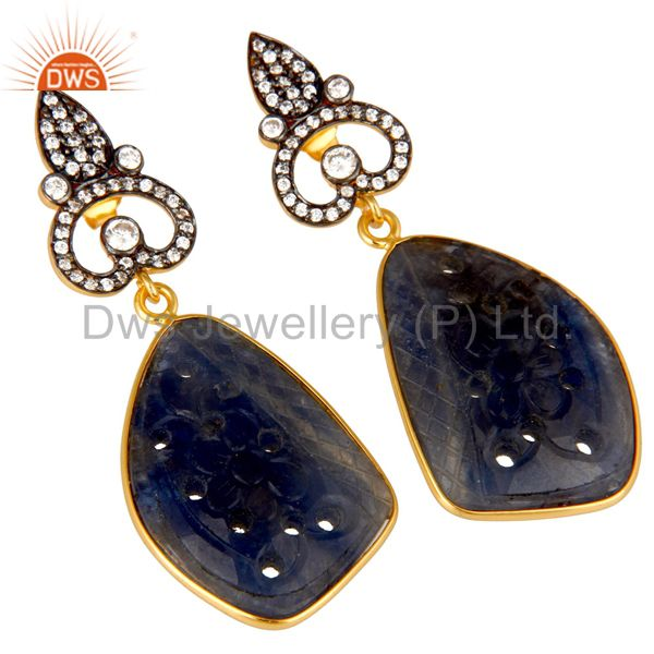 Exporter 22K Gold Plated Sterling Silver Blue Sapphire Carving Dangle Earrings With CZ