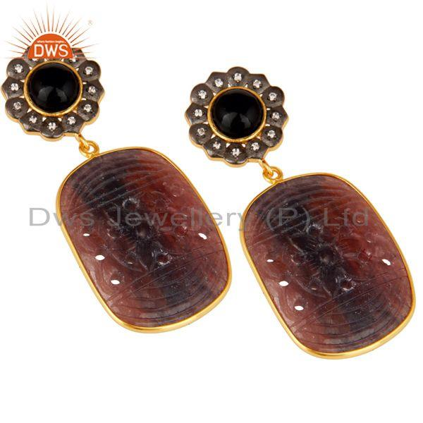 Exporter Black Onyx and Sapphire Carving 18K Gold Plated Sterling Silver Lovely Earring