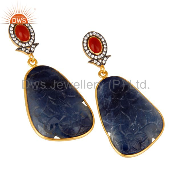 Exporter Carved Blue Sapphire And Red Onyx 22K Gold Over Sterling Silver Dangle Earrings