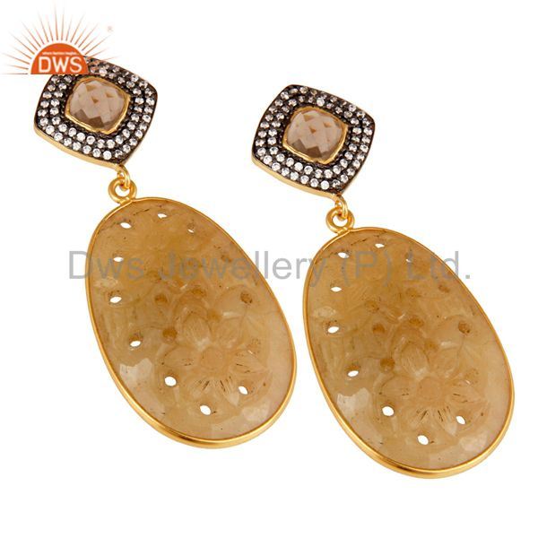 Exporter Sapphire Carving and Smokey Drop Earring 18K Gold Plated 925 Silver