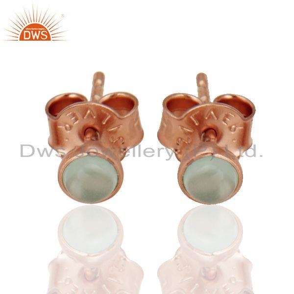 Suppliers Dyed Aqua Blue Chalcedony 18K Rose Gold Plated Sterling Silver Stud Earrings