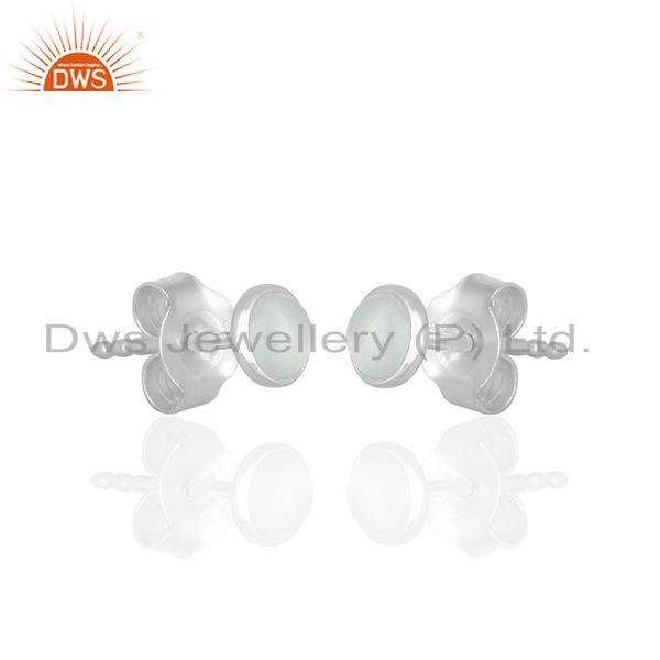 Exporter Sterling 92.5 Fine Silver Chalcedony Gemstone Stud Earrings Wholesale