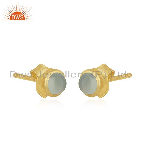 Exporter 14K Yellow Gold Plated Sterling Silver Dyed Chalcedony Bezel Set Studs Earrings