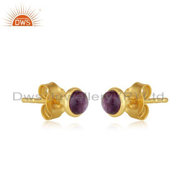 Amethyst gemstone designer 18k gold plated silver stud earrings
