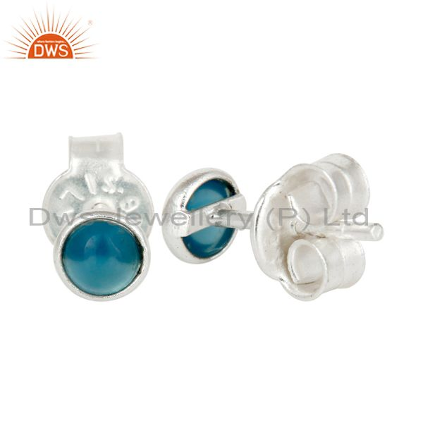 Exporter 925 Sterling Silver Dyed Blue Chalcedony Gemstone Stud Earrings
