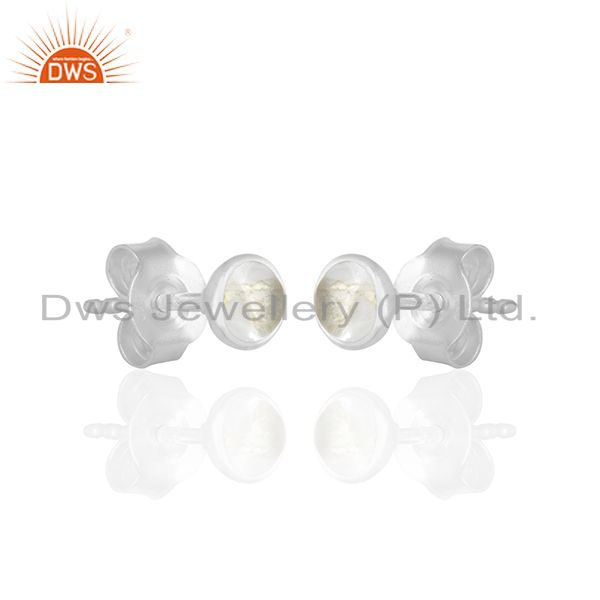 Exporter Crystal Quartz Gemstone 92.5 Silver Stud Earring Jewelry Manufacturer