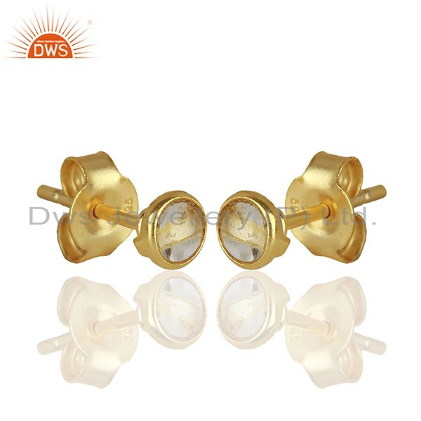 Exporter Gold Plated Silver Crystal Quartz Stud Earrings Jewelry Manufacturer
