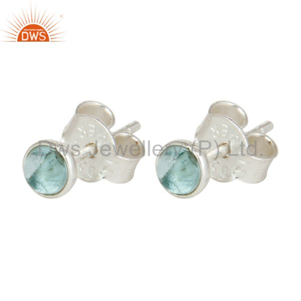 Exporter Hydro Blue Topaz Gemstone 925 Sterling Silver Stud Earrings