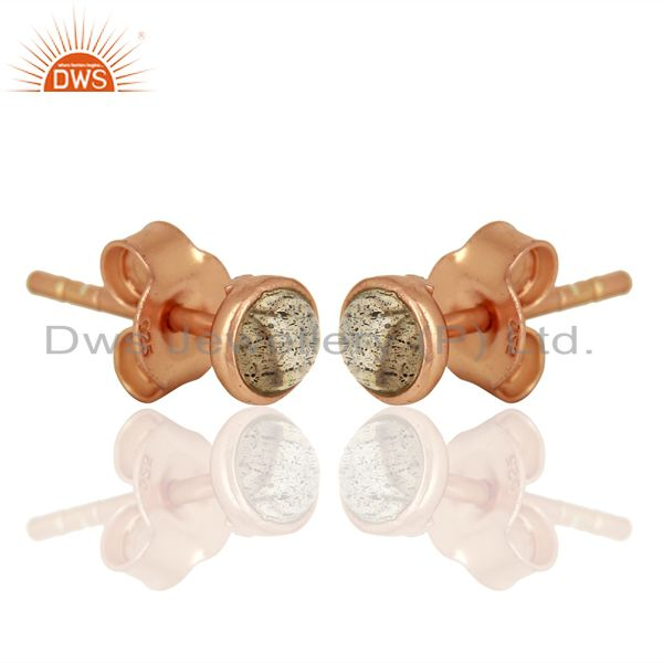 Exporter Rose Gold Plated Silver Labradorite Gemstone Stud Earrings Wholesale