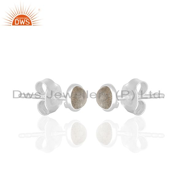 Exporter Natural Labradorite Gemstone 925 Silver Stud Earrings Wholesale