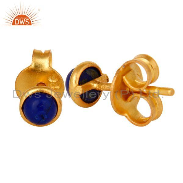 Exporter 18K Yellow Gold Plated Sterling Silver 4mm Round Lapis Lazuli Stud Earrings