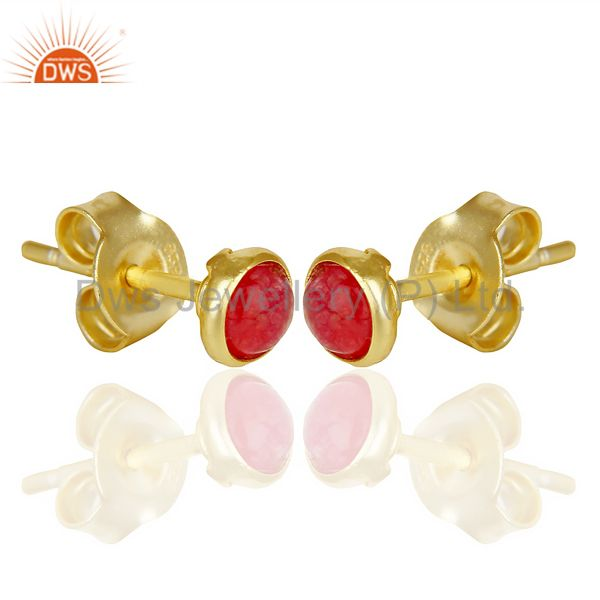 Exporter Natual Red Aventurine Cabochon Tiny 4MM Round Stud 14 K Gold Plated Earring
